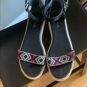 Liendo for Anthpologie Flat Leather Beaded Sandals